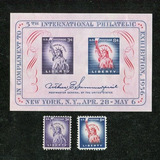 Statue Of Liberty Souvenir Sheet With Two Single ~ Stamp Co