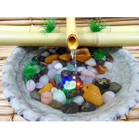 Fonte Decoração Água Casa Sala Quarto Ambiente Bambu Pedras