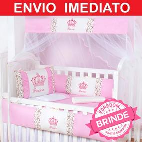 Kit Protetor Berço 9 Peças Menina Princesinha Linda C/ Coroa