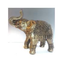 Elefante Dourado Decoração Sorte Resina Estatua Prosperida