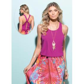 Blusa Plus Size Com Abertura Nas Costas - Pink Ou Azul Royal