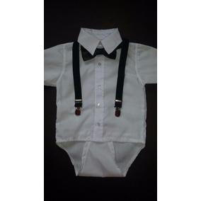 Body Camisa Manga Curta Bebe + Suspensorio Gravata Borboleta