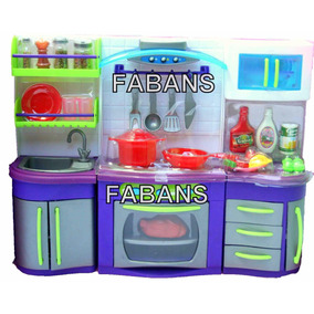 Cocina Con Luz Y Sonidos Para Barbie Con 22pcs Juguete Niña