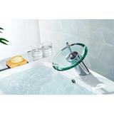 Torneira Para Banheiro Misturador Monocomando Cascata Vidro