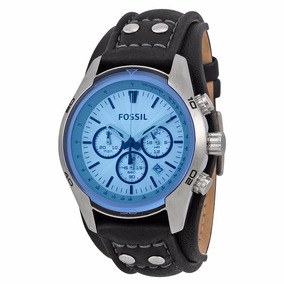 Reloj Fossil Ch2564 Blue Glass Crono Piel Original Caballero