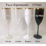 60 Taças Acrílico 170ml Champanhe - Borda Dourada - Promoção
