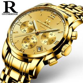 Relógio De Luxo Rontheedge Original Folheado Ouro Funcional
