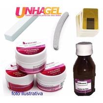 Kit Manicure Unha Gel Acrygel Acrílica Porcelana 3 Pó Lixa