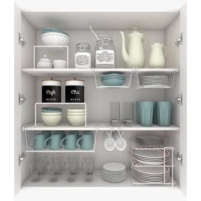 Kit Organizador P/ Cozinha 1grd 2 Méd. 4 Peq.