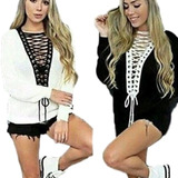 Blusa De Frio Tricot Crochê Feminina Com Decote Profundo