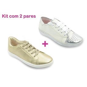 Kit Tênis Infantil Feminino Menina Branco Dourado Pé Com Pé