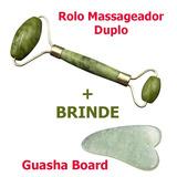 Massageador Em Jade Pedra Natural + Guasha Board De Brinde