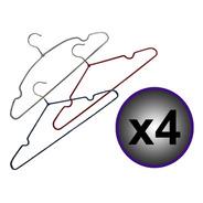 Pack X4 Percha Metalizada Antideslizante Silmar