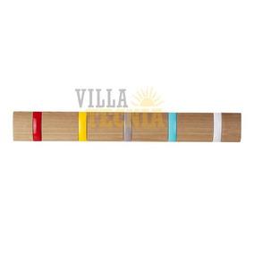 Perchero De Madera Color Natural Con 5 Ganchos De Colores