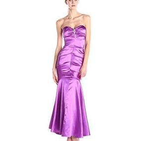 Vestido De Noche Corte Sirena Morado Strapless