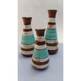 Trio De Vasos Decoração De Casa Sala Arranjo Enfeite