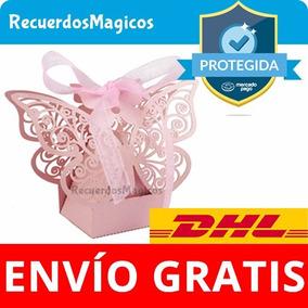 50 Cajas Cajitas Mariposas Dulces Recuerdos Boda Bautizo Ros