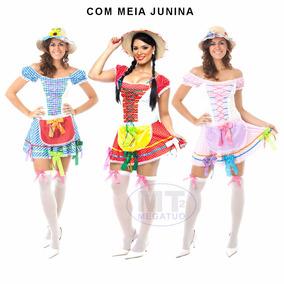 Vestido Junino Festa Caipira Adulto Roupa Saia + Meia Junina