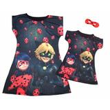Vestido Ladybug Mãe E Filha Com Máscara- Várias Estampas