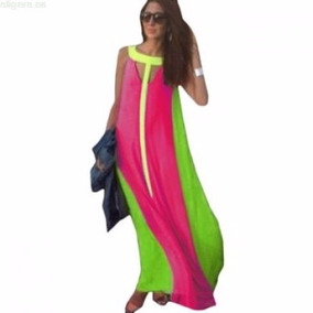 Tsuki Moda Japonesa: Maxi Vestido Neon Playa Chifon Casual