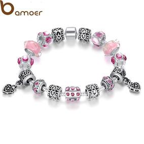 @net Pulseira Tipo Vivara Pandora Prata 15 Berloques Rosa B
