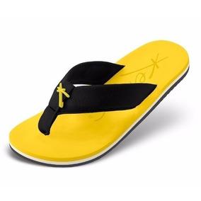 Sandália Kenner Masculina Nk5 Chinelo Original Amarelo