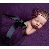 Saia Tutu Tule P/ Ensaio Fotográfico Bebê Newborn + Headband