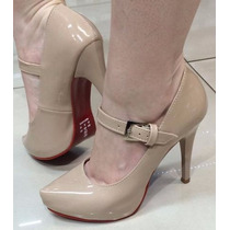Sapato Scarpin Boneca Nude Solado Vermelho Frete Grátis