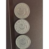 3 Monedas De 5 Centavos De 1886 De Las Tres Variedades