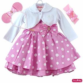 Vestido Infantil Festa Minnie Rosa Chique 2 Tiaras E Bolero