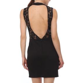 Mini Vestido Sexy Coctel Negro Encaje Espalda Escote T9