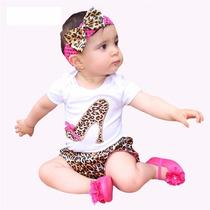 Conjunto Body Bebê Menina Shorts De Oncinha