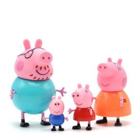 Kit 4 Miniaturas Peppa Pig Turma Porco George Papai Mamãe