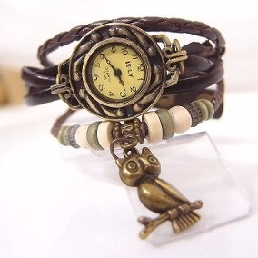 Relógio Feminino Vintage Em Couro....pingente Coruja