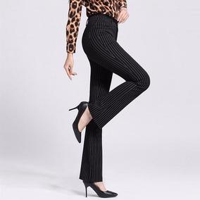 Calça Flare Social Risca De Giz Pantalona Cintura Alta Bolso