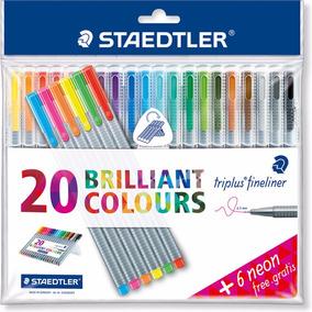Caneta Staedtler Triplus Fineliner - 20 Cores + 6 Cores Neon