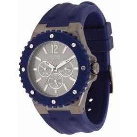 Relógio Guess Pulseira De Borracha Azul U12655g1