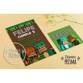 Kit Imprimible Bebe Milo Y Vita Minecraft Cumpleaños