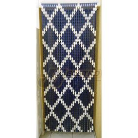 Cortina Italiana Plástica Azul Decorada Porta Painel Lavável