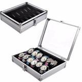 Caja Organizadora Metal Para 12 Relojes Lujo En Aluminio
