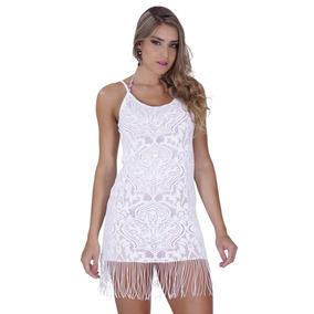 Vestido Click Chique Saída De Praia Em Microfibra Texturizad