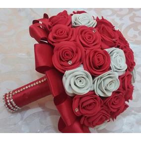 2 Buquês Eva Vermelho E Branco Noiva E Noivinha