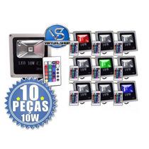 Kit 10 Refletor Holofote Led 10w Rgb Slim Com Controle
