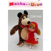 Boneca Masha Vermelha (17 Cm ) E O Urso Pelúcia (22 Cm )