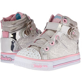 Skechers Twinkle Toes Con Luces Nro 24 Importados Plateados