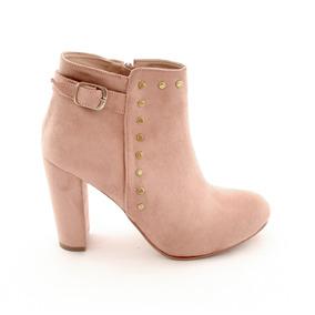 Zapatos Botin Dama Tacon Ancho Mujer Gamuza Beige M4285