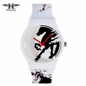 Hermoso Reloj Blanco Con Caballos
