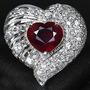 Prata 925 E Platina Com Rubi Corte Coração