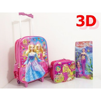 Kit Mochila Escolar Infantil C / Rodinhas Barbie Princesa 3d