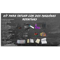 Kit Para Tatuar 2 Maquinas Rotativas Fuente Pedal Clip Cord